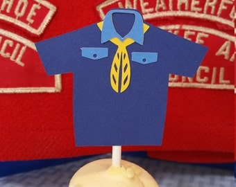 Boy Scout, Cub Scout cupcake topper, blue and gold, Cub scout shirt, Blue and Gold meetings, celebration, pinewood derby, den meetings