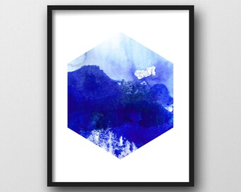 Watercolor Painting, Geometric Art Print, PRINTABLE ART, Blue Abstract, Watercolor Hexagon, Scandinavian Design, Abstract Wall Art