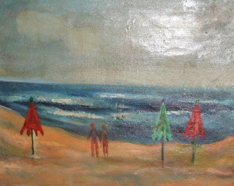 Vintage naivist oil painting seascape beach signed
