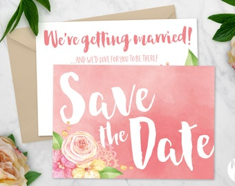 Printable Save the date | Wedding invitation | Coral Wreath