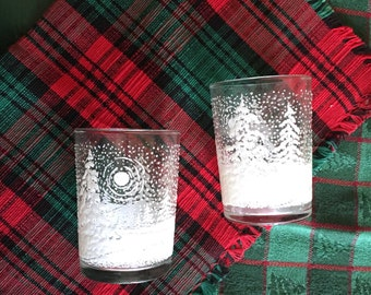 Vintage Votive Holders, Christmas Snow Votive Glasses, Vintage Candle Holder, Holiday Candle Holder, Christmas Candle Holder, Snow Embossed