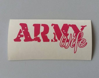 ARMY WIFE Vinyl Car Window Decal .. Free Shipping ..  Laptop Sticker Wine Glass Beer Mug Frame Sports Bottle Organizer