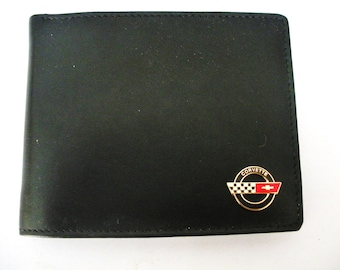 Corvette C4 Black Leather Men's Bifold Wallet