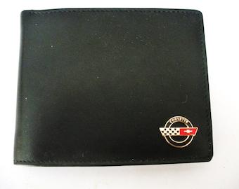 Corvette C4 Black Leather Men's Bifold Wallet