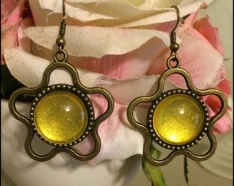 Yellow Flower Earrings Antique Bronze Finish
