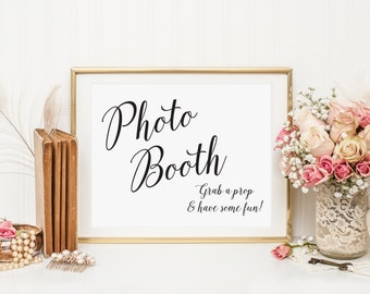 Wedding Photo Booth Sign, Grab a Prop & Have Some Fun, Photo Guest Book Sign, Photo Booth Wedding sign, Photo Booth Prop, WIS04