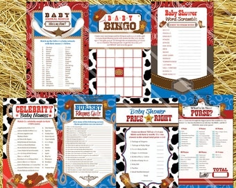 Cowboy Baby Shower Games, Printable Western Baby Shower Games, Cowboy Baby Shower Printable Game Package