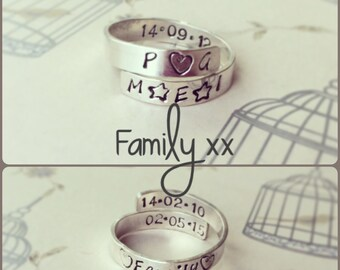 "Sterling Silver ""Family"" Crossover Ring"