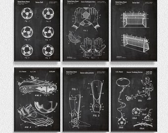 Soccer Patents Set of 6 Prints, Soccer Prints, Soccer Posters, Soccer Blueprints, Soccer Art, Soccer Wall Art, Sport Prints, Sport Posters