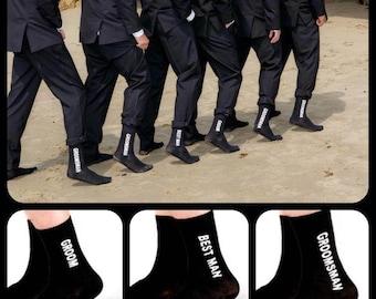 Set of 5 Wedding Party Socks, Wedding Socks, Groom Socks, Best Man Socks, Groomsman Socks, Groomsmen Socks, Groomsmen Gifts