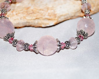 Rose Quartz and Sterling Silver Bracelet