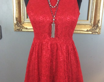Beautiful Lace Red Dress with Low Cut Back
