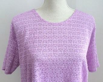 Pastel Tshirt, lilac tshirt, lavender tshirt, mauve tshirt, vintage pastel tshirt, crochet tshirt, 80s tshirt ,80s lavender tshirt, 80s lila