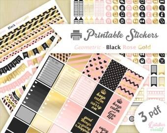 Géometrique style noir doré rose | Printable stickers | 3 pdf | Téléchargement instantané | Planner, Happy planner