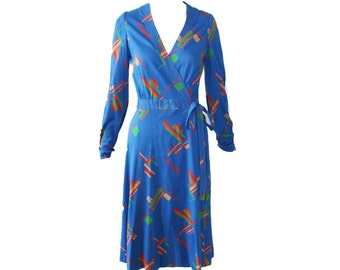 Vintage Albert Nipon Geometric Multi Color Knit Wrap Dress 1970s