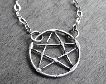 White pentagram. Pentagram happiness. Hand made work. Sterling silver. Pentagram. Hand made. Oxidized jewellery