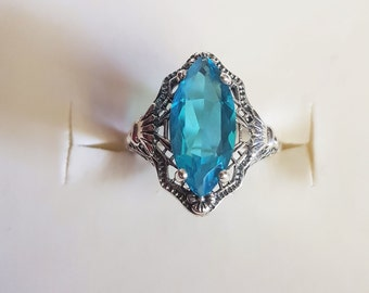Replica Vintage Blue Topaz (Simulated) 925 Sterling Silver Edwardian Style Filigree Ring
