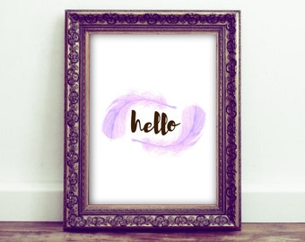 Hello Printable Wall Art Typograhy