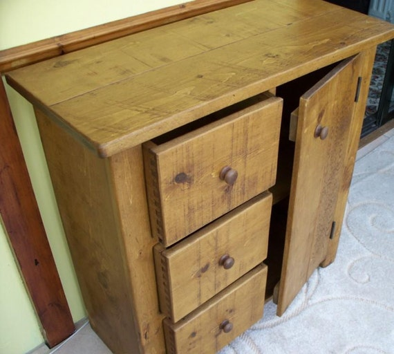 Rustic plank furniture new real solid wood sideboard dresser for Sideboard real