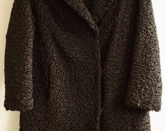 Vintage chocolate brown Astrakhan coat