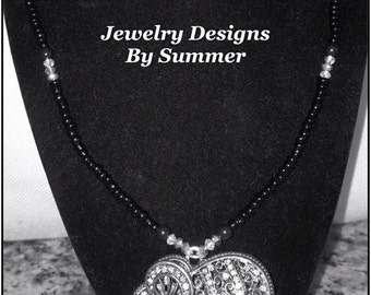 Black and white Elephant Pendant Necklace