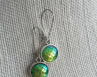 Green scale kidney wire earrings