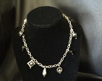 Gun Metal Chocker Charm Necklace