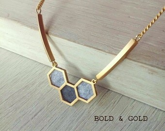 Hexagon gold necklace, honeycomb pendant, geometric necklace