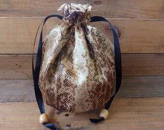 Handmade Satin Snakeskin Print Reticule Bag/Evening Purse