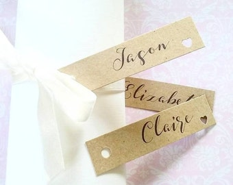 Pack of 50 - Kraft Vintage Wedding Place Cards - Personalized Place Cards - Wedding Place Cards - Place Cards