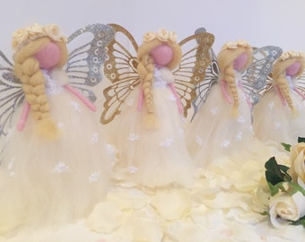 Flower Girl Fairies (Needle Felted Ornaments) - Pack of 2