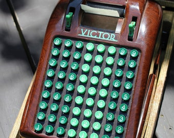 Vintage VICTOR Bakelite Adding Machine - 8 Row