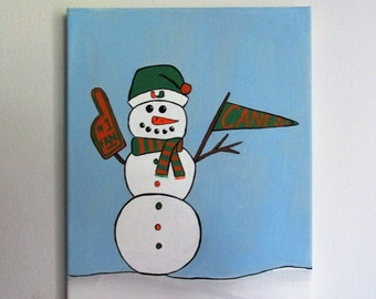 """Team Spirit Snowman - featuring the Miami Hurricanes, Team Customizable - 11"""" x 14"""" Acrylic on Stretched Canvas"""