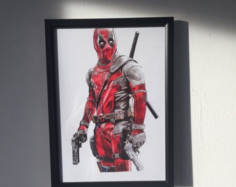 DEAD POOL pencil drawing - Giclee print