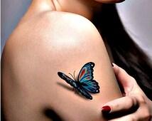 articles uniques correspondant tatouage papillon 3d etsy. Black Bedroom Furniture Sets. Home Design Ideas