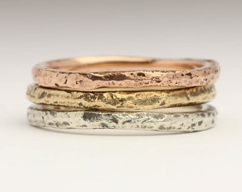 Sandcast Stacking Rings Set in Recycled 9ct Yellow, Rose and White Gold, Rustic Textured Rings, Organic Thin Bands, Contemporary Mix Match