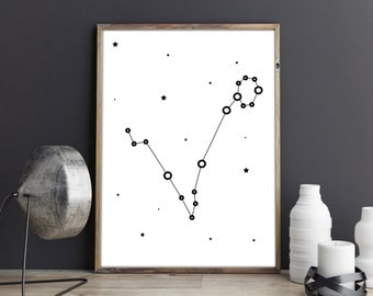 Pisces zodiac poster, Printable wall art, minimalist constellation art, Pisces art, Instant download