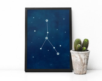 Cancer constellation art, Zodiac Cancer print, Printable poster, Wall print, Astrology art, Astronomy print, Printable wall decor