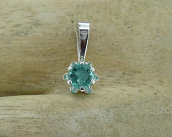Dainty Natural Emeral and Sterling Silver Pendant