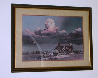 Western Art BILL JAXON- Two Days from the Red- Signed Framed Lithograph -coa
