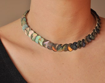 Mother of pearl collar necklace choker