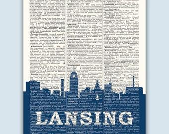 Lansing Skyline, Lansing Poster, Lansing Decor, Lansing Print, Lansing Wall Art, Lansing Gift, Lansing Wall Decor, Lansing Michigan