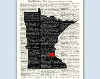 Minnesota Print, S. Paul city heart, Minnesota Twin Cities Art Gift, Wedding Gift, Minnesota Art, Minneapolis Twin City,  Established Sign
