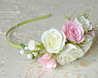 Headband flower girl Rose Wedding White Pink Flower girl Wedding Crown Flower Headband Rustic Headband Flower Head Wreath Boho wedding