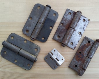Set of 5 pieces. Vintage door hinges. Metal door hinges. The old decor. Furniture restoration. Steampunk craft. Home decor. Made in USSR