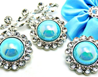 Rhinestone Pearl Buttons Acrylic Shiny AB Iridescent Turquoise Pearl Button W/ Clear Surrounding Rhinestones Button Brooch 26mm 3185 49P 2R