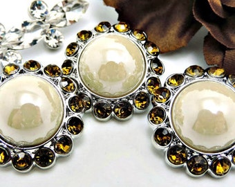 Shiny IVORY Pearl Rhinestone Buttons Acrylic Button W/ Brilliant Chocolate Amber Surrounding Rhinestones Button Bouquet 26mm 3185 91P 12R