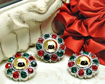 CHRISTMAS Gold Pearl w/ Red & Green Surrounding Acrylic Rhinestone Buttons Coat Buttons Fashion Garment Buttons 25mm 2997 01P 3 3 6R