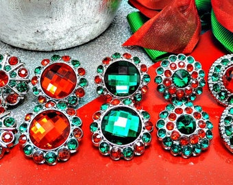 Christmas Red & Green Rhinestone Button W/ Surrounding Acrylic Rhinestones Embellishments Garment Wedding Coat Buttons  26mm