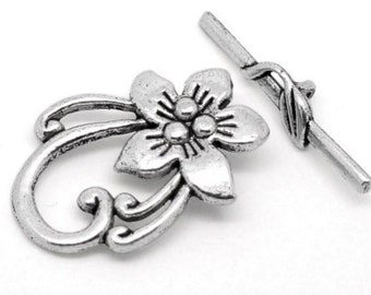 Silver Flower Toggle Clasp